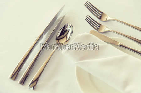 close up of cutlery set on