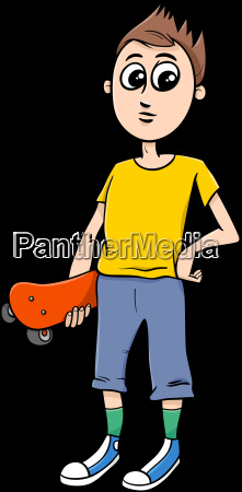 teen boy with skateboard cartoon