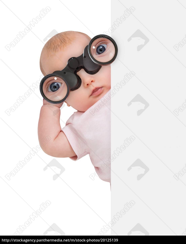 child, using, binocular, hiding, behind, banner - 20125139