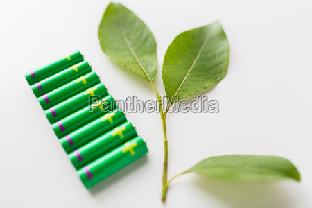 close up of green alkaline batteries