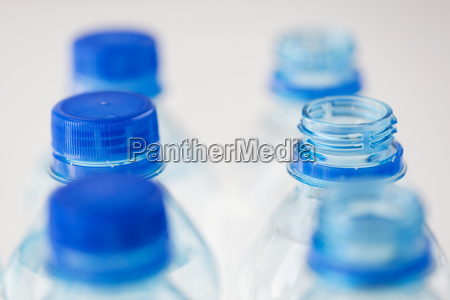 close up of plastic bottles with