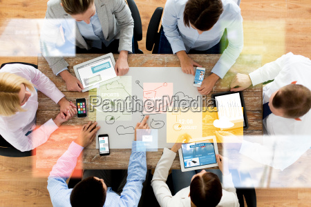 business team with smartphones and tablet