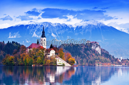 bled with lake island castle and