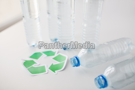 close up of plastic bottles and