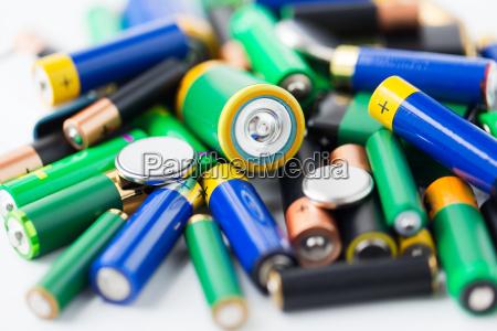 close up of alkaline batteries