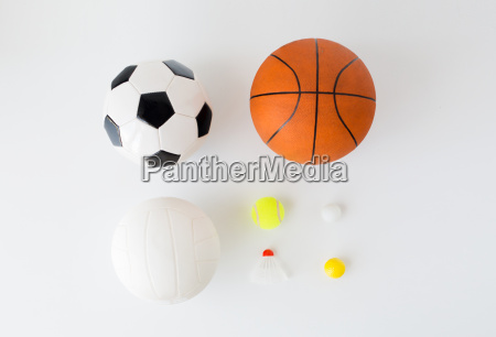 close up of different sports balls