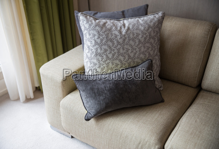 close up of couch with cushions