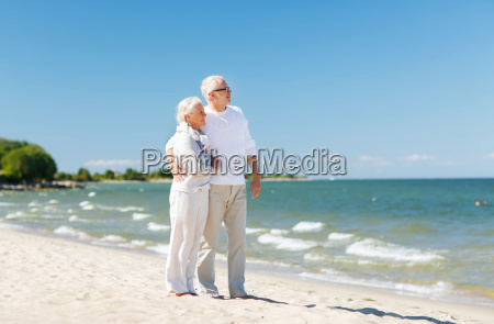 happy, senior, couple, hugging, on, summer - 20149259