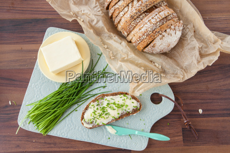 bread, and, butter, with, fresh, chives - 20151695