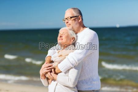 happy, senior, couple, hugging, on, summer - 20151015