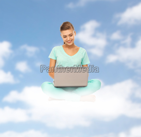 happy, young, woman, with, laptop, sitting - 20153897