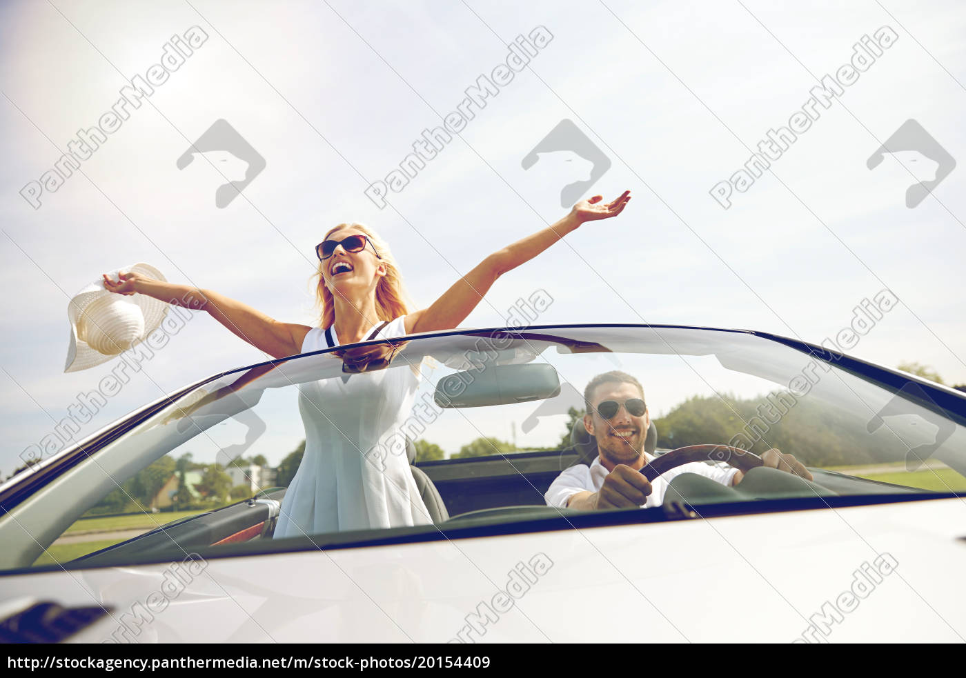 happy, man, and, woman, driving, in - 20154409