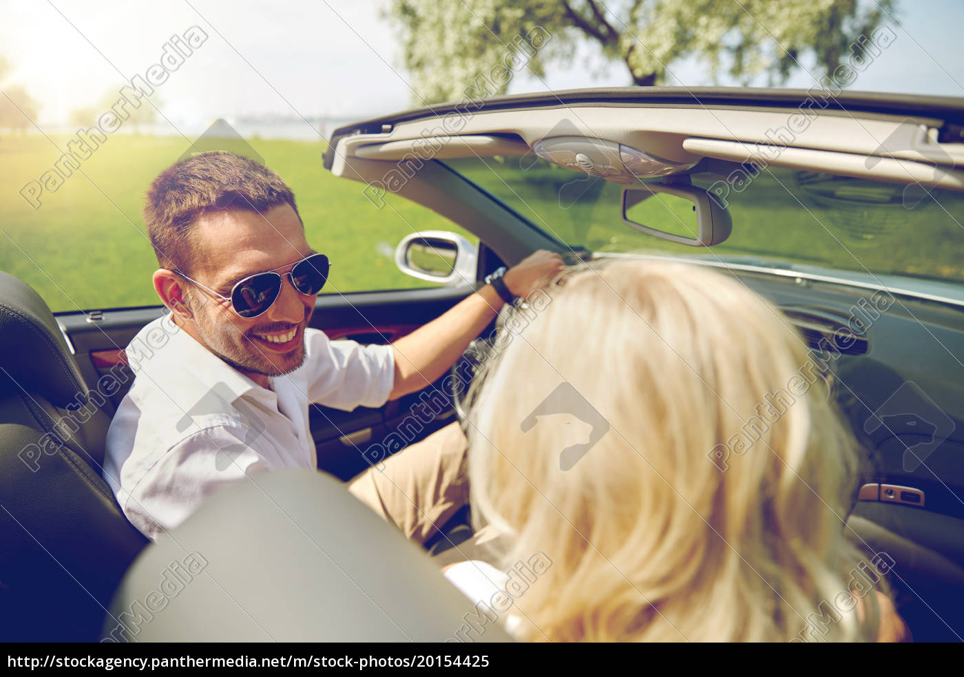 happy, man, and, woman, driving, in - 20154425