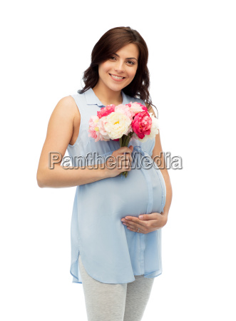 happy, pregnant, woman, with, flowers, touching - 20154007