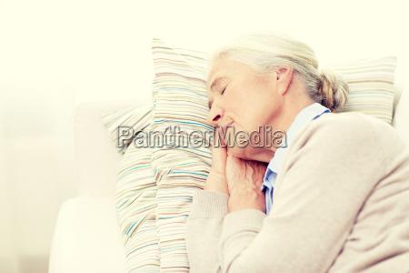 happy, senior, woman, sleeping, on, pillow - 20154645