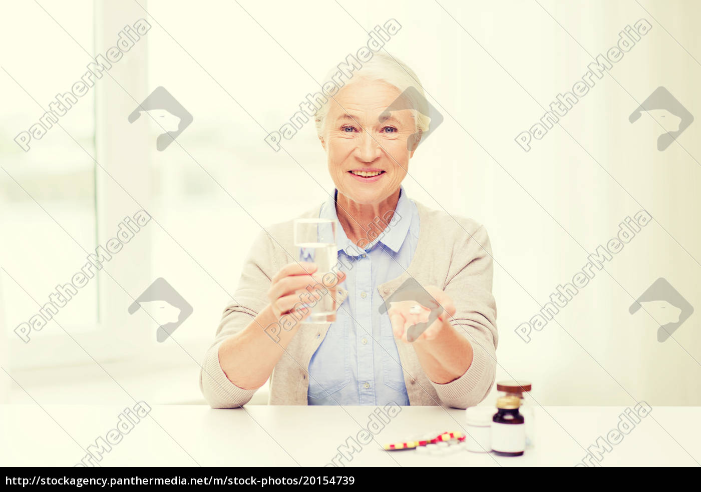 happy, senior, woman, with, water, and - 20154739