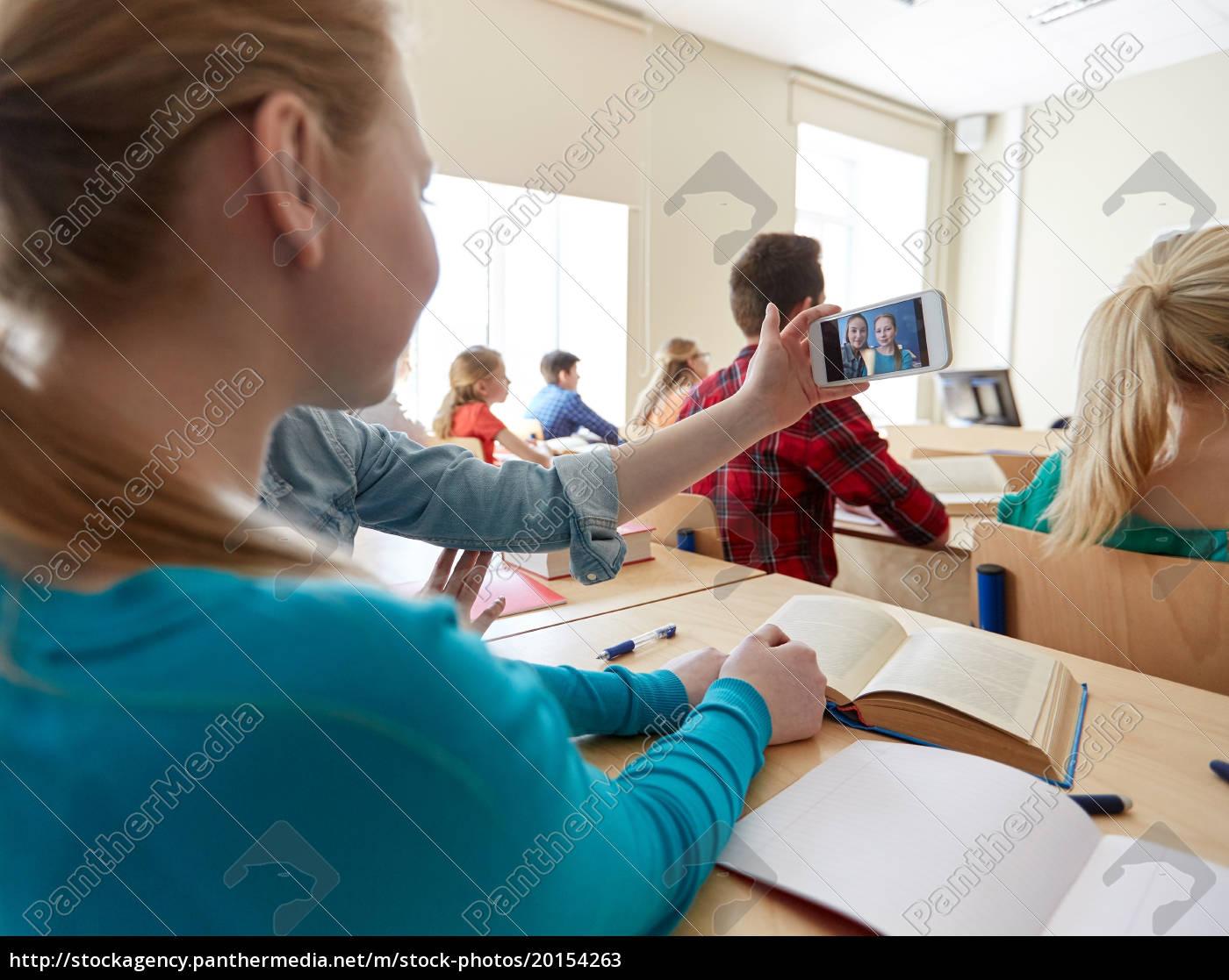 student, girls, taking, smartphone, selfie, at - 20154263