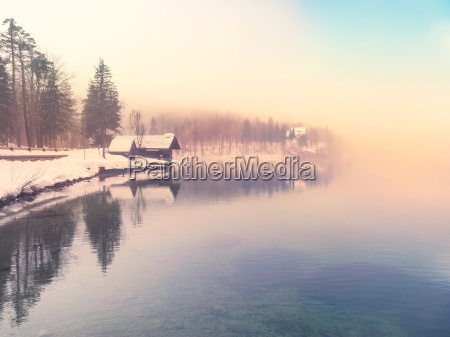 winter time in lake bohinj slovenia