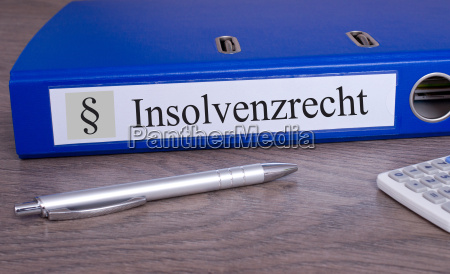 insolvency law folder in the office