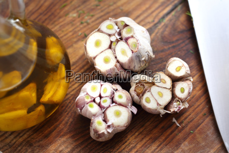 olive oil with garlic cloves olive