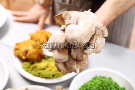 oyster mushrooms in vegetarian cuisine restaurant