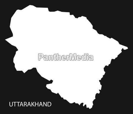 uttarakhand india map black inverted
