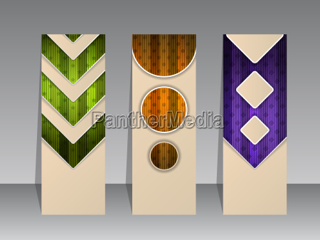 abstract striped banner set with shadows