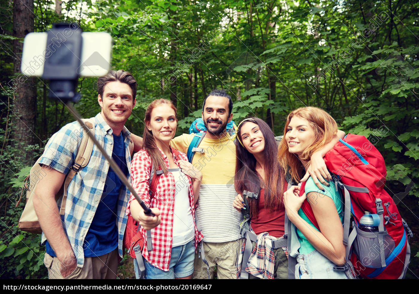 friends, with, backpack, taking, selfie, by - 20169647