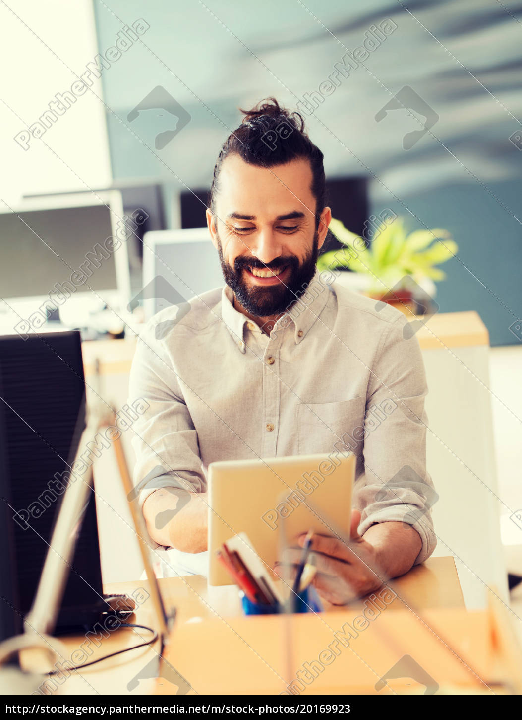 happy, creative, male, office, worker, with - 20169923