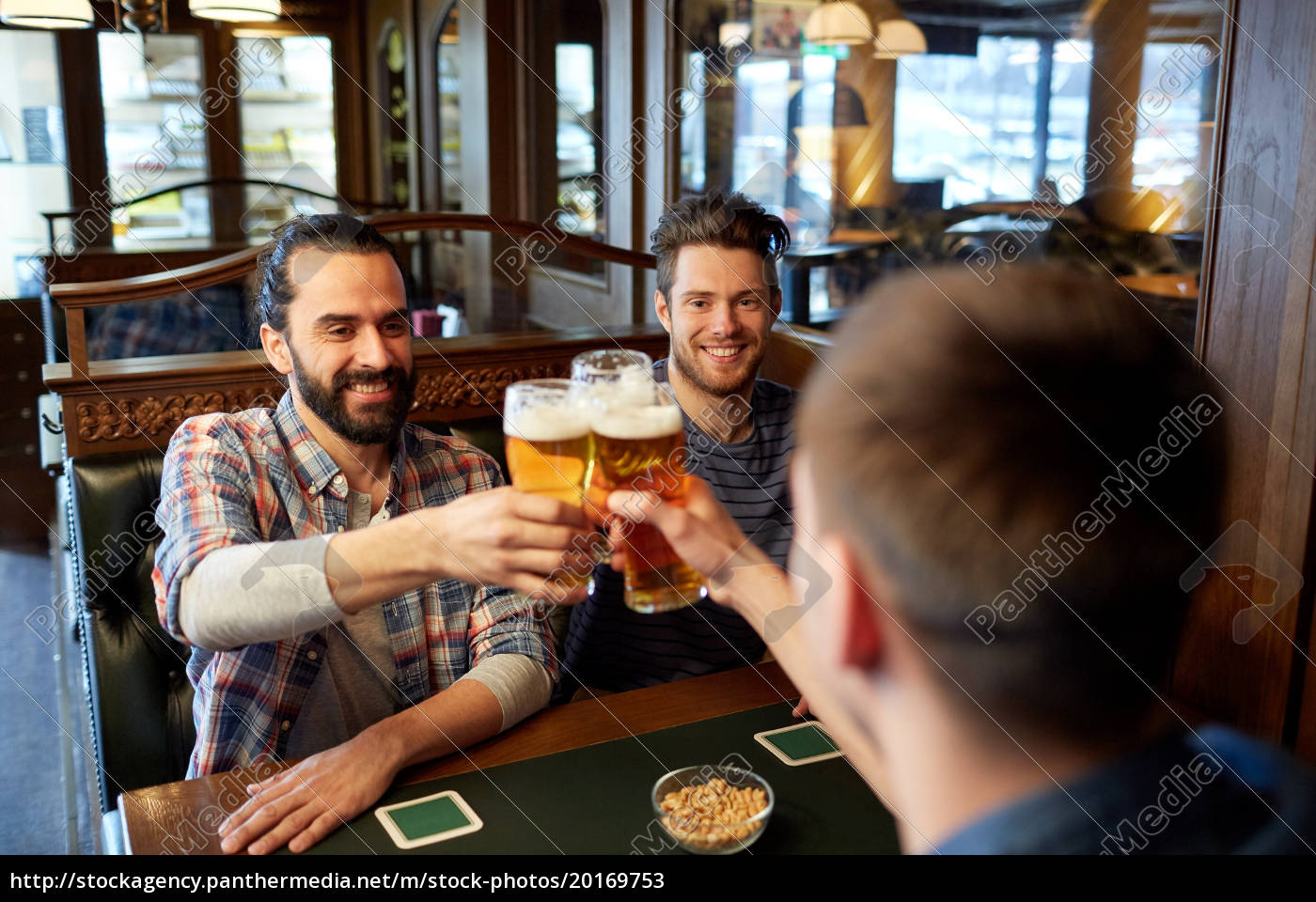 happy, male, friends, drinking, beer, at - 20169753