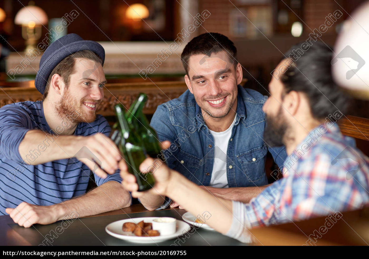 happy, male, friends, drinking, beer, at - 20169755