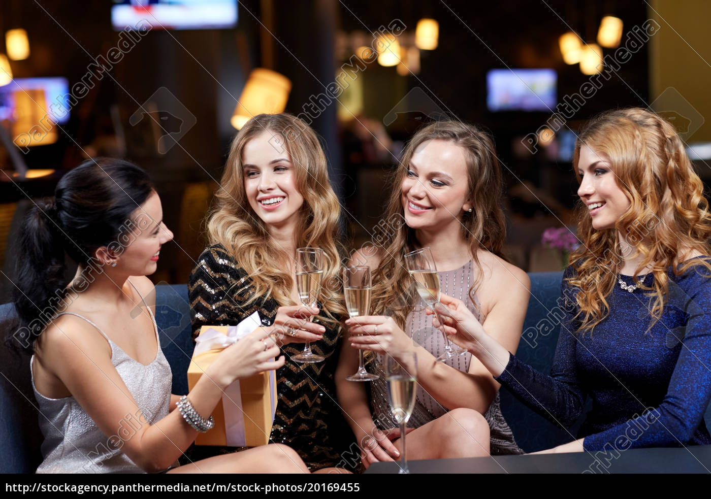 happy, women, with, champagne, and, gift - 20169455