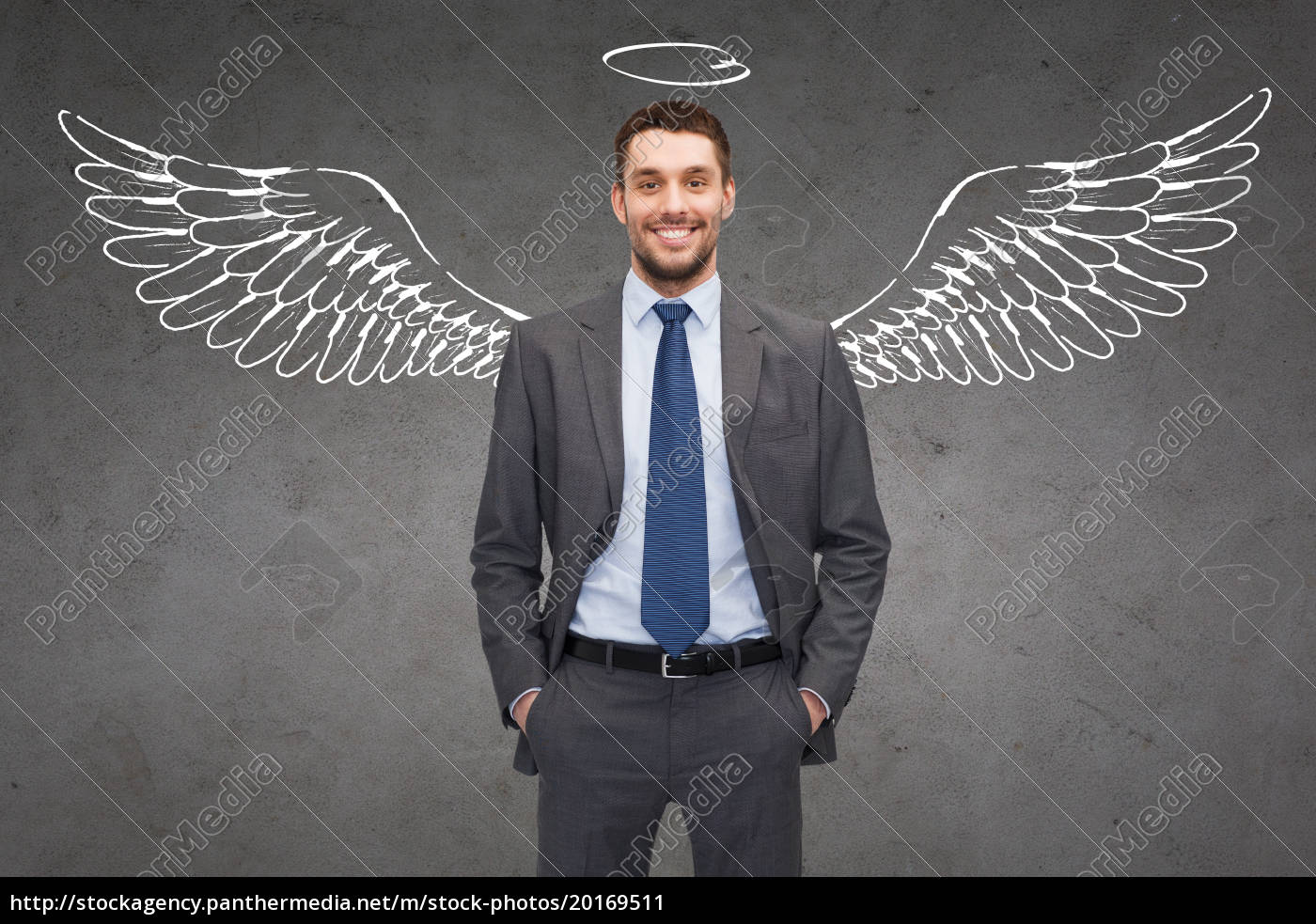 smiling, businessman, with, angel, wings, and - 20169511