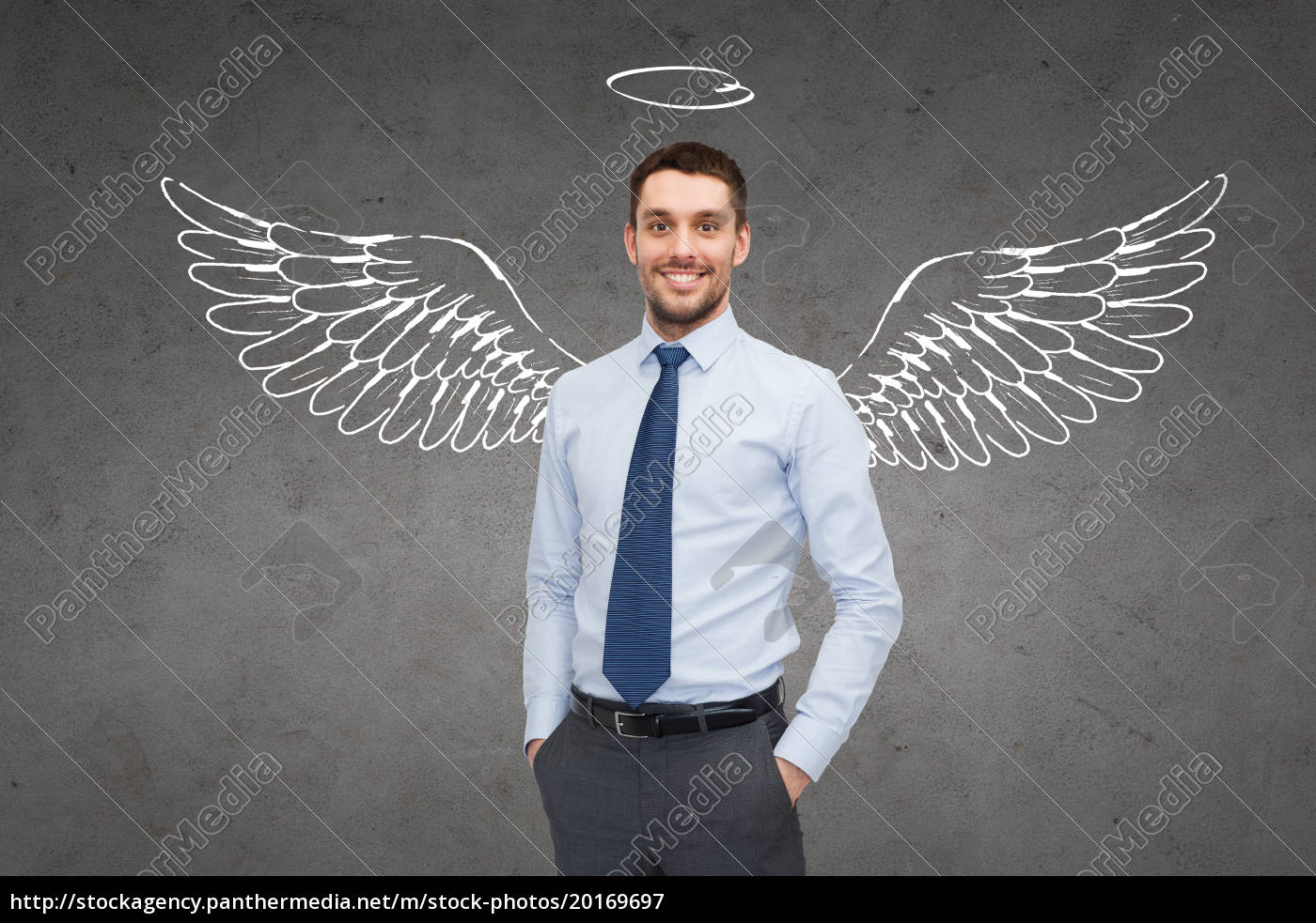smiling, businessman, with, angel, wings, and - 20169697