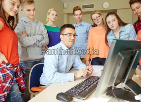 students, and, teacher, with, computer, at - 20169569