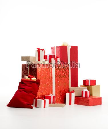 pile of christmas gifts