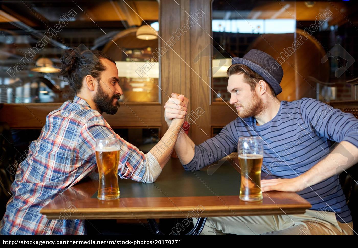 men, drinking, beer, and, arm, wrestling - 20170771