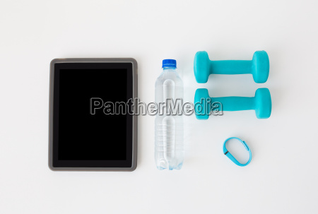 tablet, pc, , dumbbells, , fitness, tracker, and - 20170765