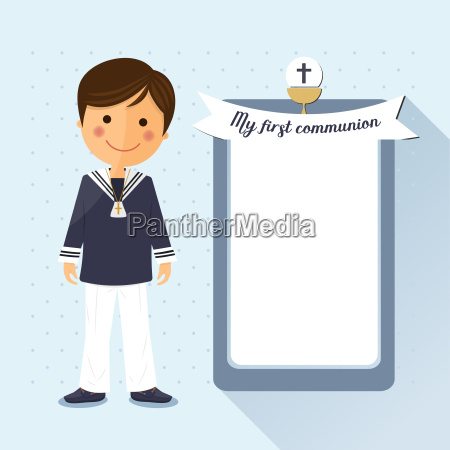 first communion child square card on