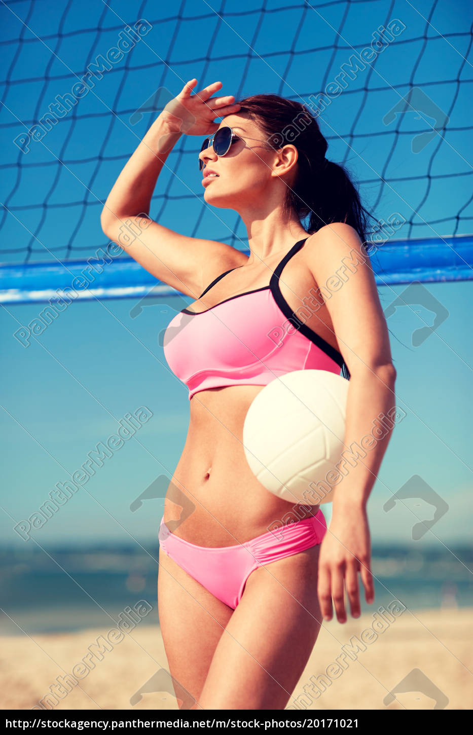 young, woman, with, volleyball, ball, and - 20171021