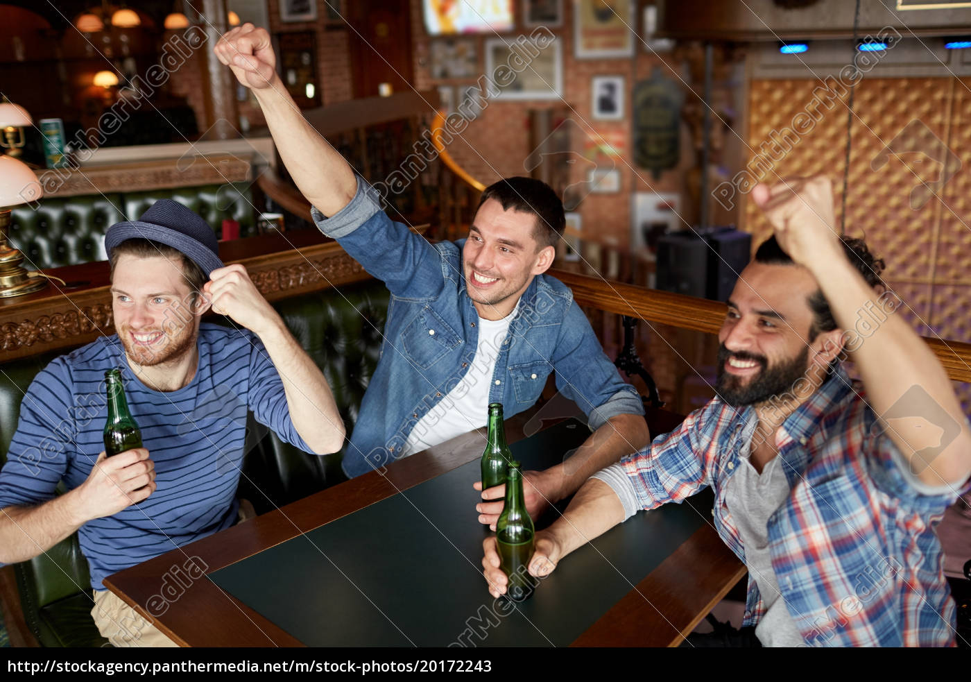 happy, male, friends, drinking, beer, at - 20172243