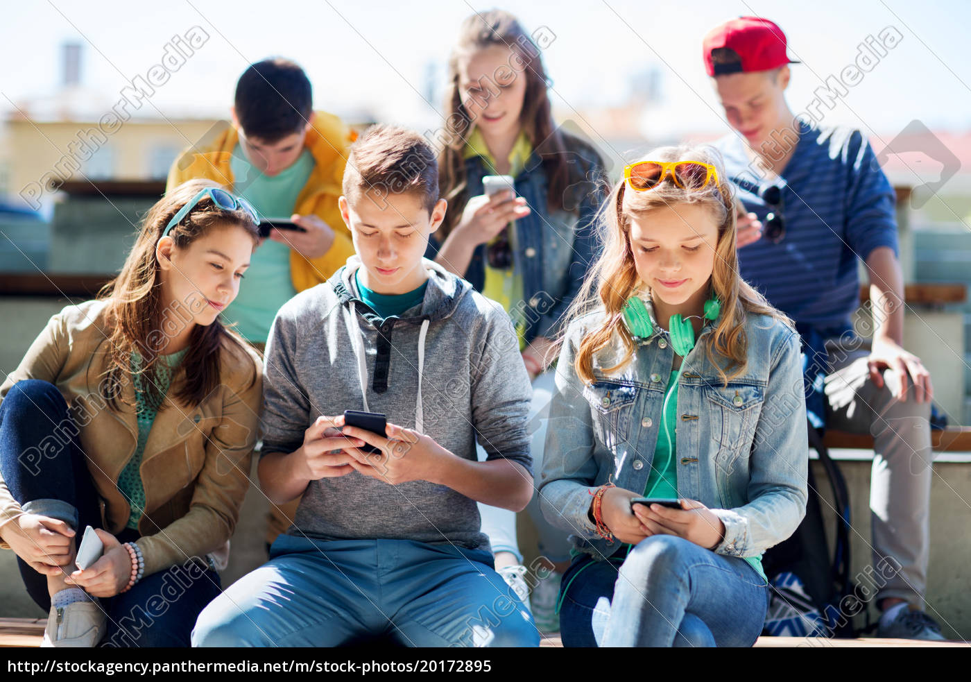 happy, teenage, friends, with, smartphones, outdoors - 20172895