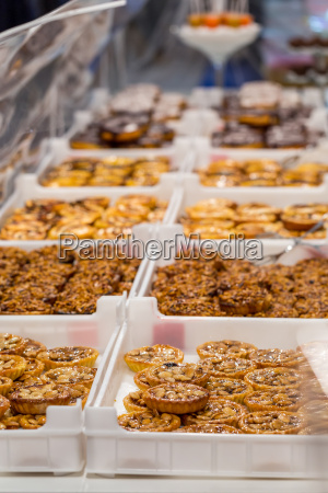 portugese cake on showcase in backery