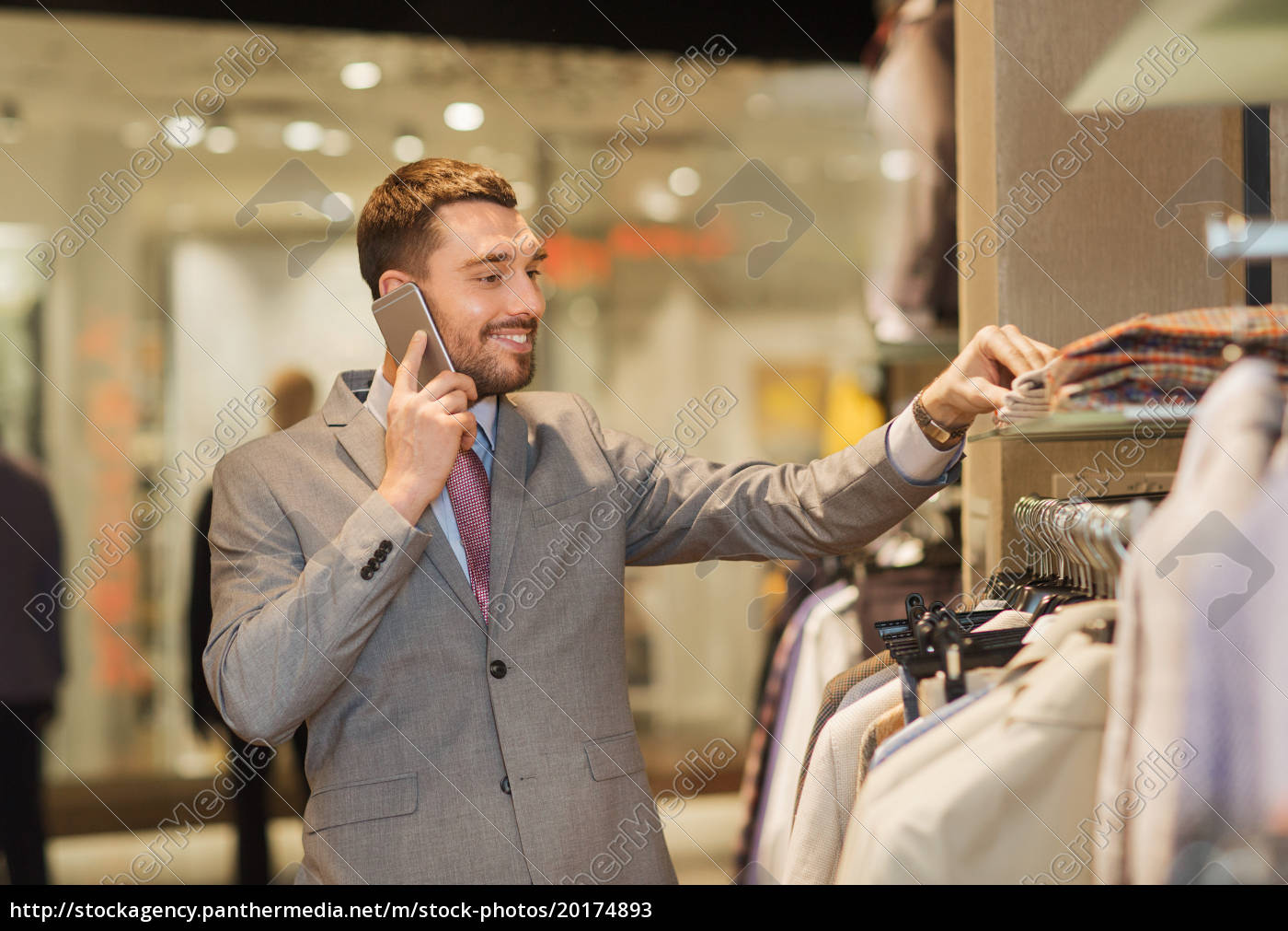 happy, man, calling, on, smartphone, at - 20174893