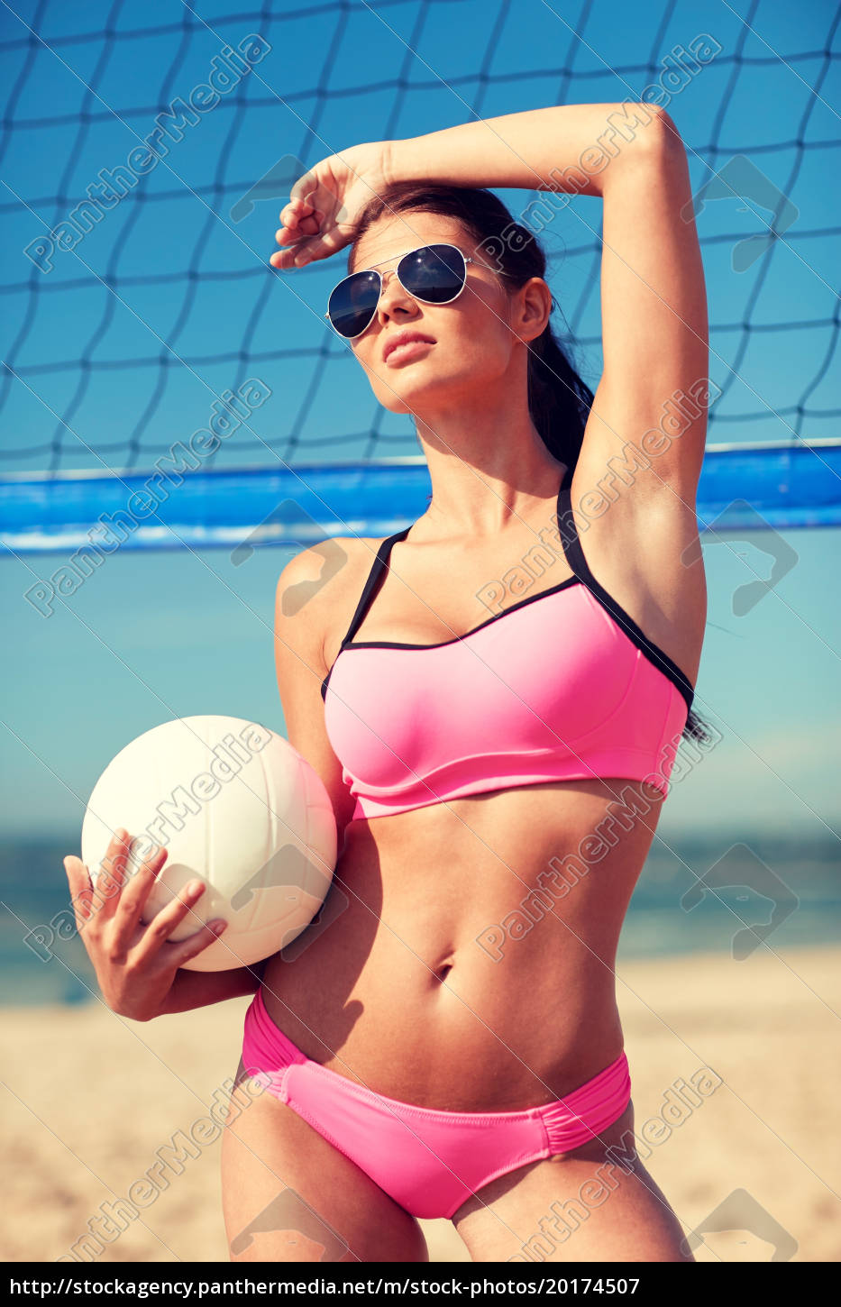 young, woman, with, volleyball, ball, and - 20174507