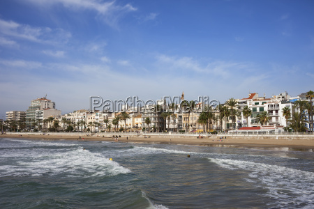 spain catalonia sitges coastal town and