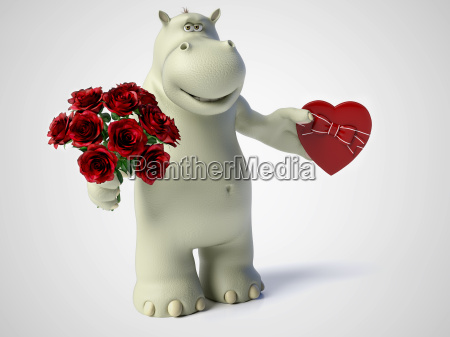 3d rendering of romantic cartoon hippo