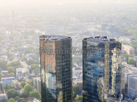 germany frankfurt modern skyscrapers with reflections