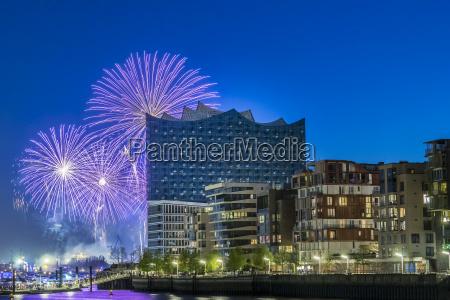 germany hamburg fireworks at elbphilharmonie