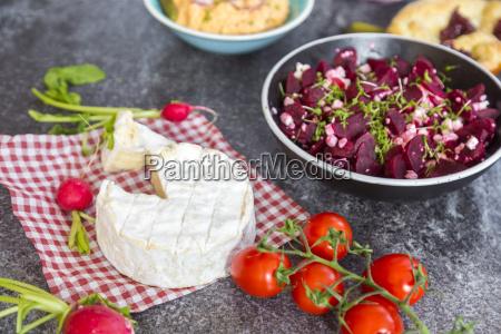 vegetarian bavarian buffet with camambert and